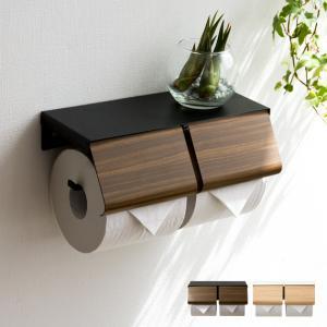 ペーパーホルダー トイレ 2連 トイレットペーパーホルダー おしゃれ 棚 ダブル 二連 ツイン 北欧 シンプル トイレ 収納 トイレ用品 トイレグッズの写真
