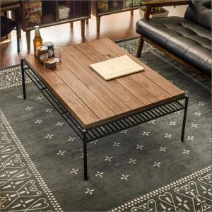 リビングテーブル ローテーブル センターテーブル おしゃれ 木製 収納 棚付き 長方形 無垢 カフェテーブル 西海岸 ヴィンテージ インダストリアル|air-r