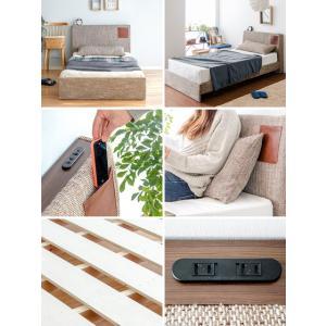 ベッド シングル すのこ フレーム コンセント すのこベッド シングルベッド ファブリックベッド おしゃれ 北欧 西海岸 フレームのみ シングルサイズ|air-r|02