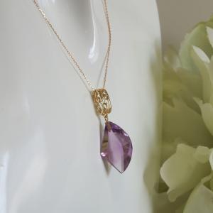 透かし模様バチカン アメジスト(変形カット) K10ゴールドペンダントトップ(ヘッド)1点もの|airejewelry