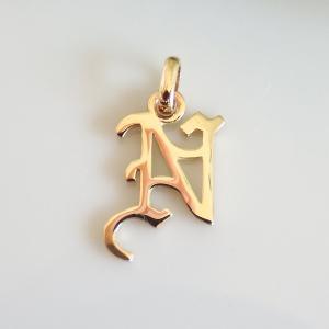 イニシャルペンダントトップ N K18ゴールド レディース |airejewelry