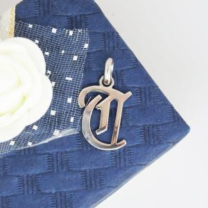 イニシャルペンダントトップ T プラチナコーティング ユニッセックス、メンズ、ペアネックレス|airejewelry
