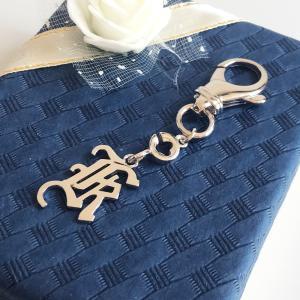 イニシャル K シルバーキーホルダー プラチナコーティング |airejewelry