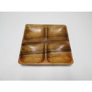 木製アカシア食器  北欧 ナチュラル スクエアトレー AC-2042m Square Tray with 4/Cアカシア プレート木目 木製 ウッド キッチン 洋食器 airleaf