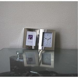 【商品名】 【時計付フォトフレーム】鏡のような光沢感 高級感あるフォトフレーム ■シルバーWフォトフ...