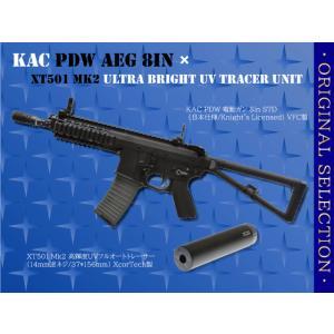 【オリジナルセット】KAC PDW 電動ガン 8in STD (日本仕様/Knight's Licensed) VFC製+XT501Mk2 高輝度UVフルオートトレーサー (14mm逆ネジ/37*156mm) XcorTech製 airsoftclub