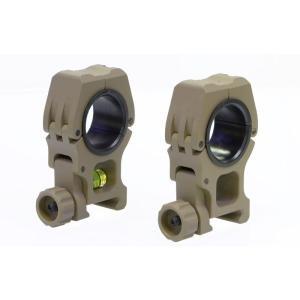 M10 スコープマウントリング レベルゲージ内蔵 (25/30mm径対応) DE  OPT-Crew製|airsoftclub