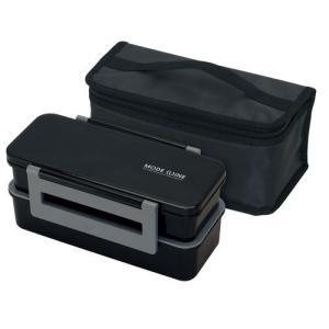 保冷バッグ付ジャンボ2段ランチボックス 1.3L モードライン BK(ブラック) tw 学生に、スポーツマンに、ガテン系に 特大弁当箱|airu-shop3