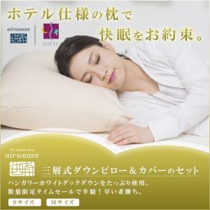 ロフテー 快眠枕 三層式ダウンピロー&枕カバー(麻)限定セット|airweave