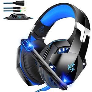 ゲーミング ヘッドセット Dovon PS4 PC用ヘッドセット ステレオ 高音質 ノイズキャンセリング ヘッドホン マイク付き LEDライト(青) airymotion