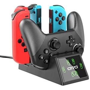 ジョイコン Joy-Con プロコン 充電 スタンド OIVO Switchコントローラー充電 2.5時間急速充電 Joy-Con充電 (ブラック)|airymotion