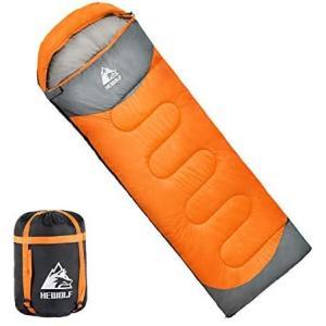 HEWOLF寝袋 封筒型 190T防水シュラフ 軽量 保温 連結可能 アウトドア 丸洗い可能 コンパクト (オレンジ 1.3kg-右)|airymotion