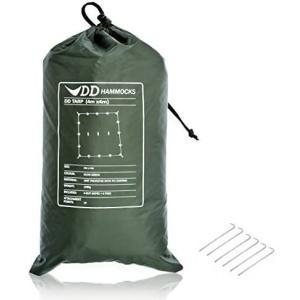 "DD Tarp タープ 4x4 耐水性 3000mm 使いやすい正方形タープ & 6 x 9"" Tent Pegs セット (Olive green)|airymotion"