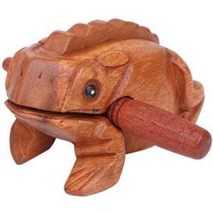 [ルボナリエ] 木製 カエル ミニ ギロ ドラム パーカッション 打楽器 楽器 かえる 鳴き声 縁起物 音が出る タイスタイル (L: 9cm(L)|airymotion