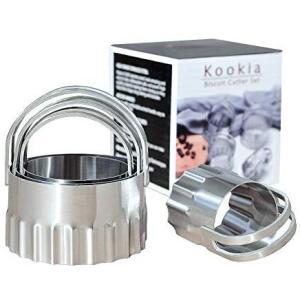 Kookia ステンレススチール ラウンドビスケットカッター 溝付きエッジ 4個セット airymotion
