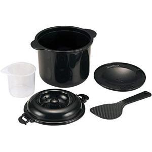 日本製 かんたん レンジ 炊飯器 0.52合炊き 日本製 計量カップ しゃもじ付 備長炭成分入 電子レンジでチンするだけ 米とぎもカンタン airymotion