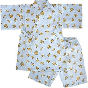 (オンスクール) OnSchool 80000SAX 甚平スーツ 男の子 女の子 二点セット ブルー 水色 バナナ柄 ドビー織 (水色 130)|airymotion