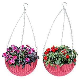 TJHJP 植木鉢 吊り下げ ハンギングバスケット 丸い形 ABS樹脂 変形しにくい チェーン付き 屋外 屋内 上直径21センチ (レッド)|airymotion