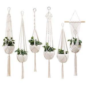 Sekusii マクラメ ハンギング 植物ハンガー 手作り 綿 ロープ ぶら下げ プランター セット植木鉢ホルダー スタンド 屋内 屋外 (組合)|airymotion