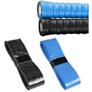 ラケットグリップ、4個入りバドミントンホールドノンスリップ交換用グリップテニスラケットフィッシングロッドシェイクハンド、ブラック、ロイヤルブルー|airymotion