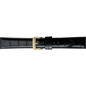 BAMBI バンビ 時計バンド 牛革 型押 スコッチガード 撥水 ブラック 18mm 美錠 ゴールド (ブラック 美錠:ゴールド) airymotion