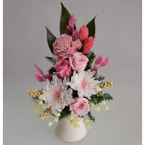 仏花 プリザーブドフラワー 白菊 花器付 ピンクのお花 お供え お悔やみ 法要 法事 命日 仏壇|aisaisai