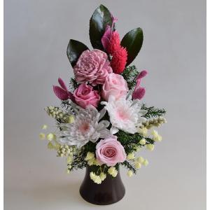 仏花 プリザーブドフラワー 白菊 花器付 ピンクのお花 お供え お悔やみ 法要 法事 命日 仏壇|aisaisai|02