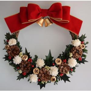 クリスマスリース、ドライフラワー、赤いリボン、ベル、ヒイラギ...