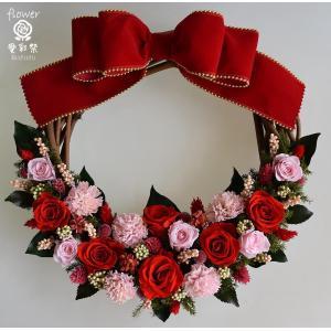クリスマスリース プリザーブドフラワー 玄関 華やかな赤いバ...
