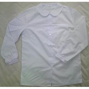 小学生用ショール丸衿ブラウス 女子長袖ブラウス 手間なしノンアイロン 日本製 スクールシャツA体 (最高級吸水防汚加工・日清紡ブランド生地で白さが続く)|aisle