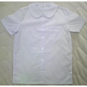 小学生用ショール丸衿ブラウス 女子半袖ブラウス 手間なしノンアイロン 日本製 スクールシャツA体 (最高級吸水防汚加工・日清紡ブランド生地で白さが続く)|aisle