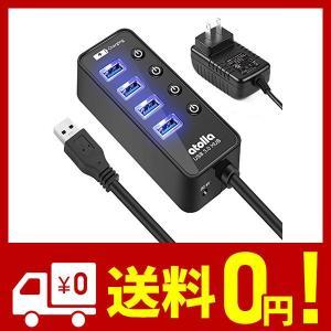 USB3.0ハブ 電源付き, atolla 4ポート高速USB3.0 の 拡張+ 1充電ポート USB Hub 独立スイッチ付 5V/3A ACアダプ|aiz