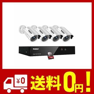 TMEZON (ティメゾン) 防犯カメラセット 4CH防犯防犯レコーダー& HD 1280TVL 720P画素 屋内屋外耐候性 CCTVカメラ 4台、|aiz