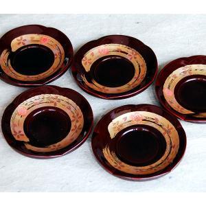 溜塗 4.0 梅型茶托 手描き蒔絵 春がすみ 5枚セット(和柄蒔絵 数量限定 会津塗 会津漆器) aizu-sikkiya1