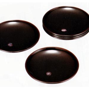 (溜)4.5銘々皿「明月」5枚セット 溜塗りのシンプルな銘々皿です。  ご自宅用に、オフィスに、場所...