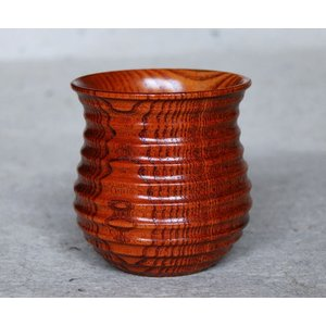 木製 スリ漆 ひさご型湯のみ 単品(木目 くり抜き 小さな贈り物 普段使いに) aizu-sikkiya1