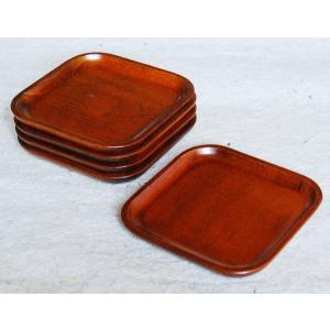 〔特価〕木製/漆(スリ)4.2隅丸角皿 5枚セット 国産の栓の木をくり抜いて作った四角いお皿です。 ...