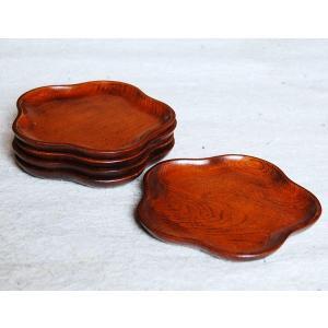 スリ漆 5.0梅型 銘々皿 5枚セット 木製 無垢 漆塗り(木目 お菓子皿 和菓子皿 ケーキ皿 取り...