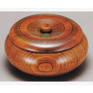 スリ漆 6.0 筋入菓子器 蓋付菓子鉢 お菓子入れ(木目 天然木 引き出物 内祝い お返し 記念品)