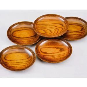スリ漆 5.0寸 銘々皿 5枚セット 筋入り 木製 漆塗り(木目 お菓子皿 和菓子皿 ケーキ皿 取り...
