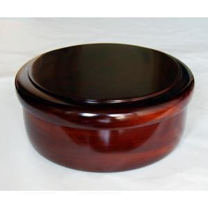 木製 栃 9.5 くり抜き茶びつ(直径29cm 茶器入れ 国産材 天然木 日本製)|aizu-sikkiya1