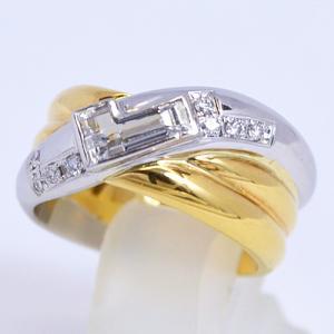 即納/LANCEL(ランセル) K18ゴールド プラチナPt900/ダイヤモンド デザインリング 00301(代引不可)|ajewelry