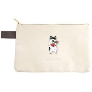 ポケファス×プラスト Pokefasu 刺繍 フラットケース/ネコじた 猫 ポーチ 小物入れ 4423-040(取寄せ/代引不可/ギフト不可)|ajewelry