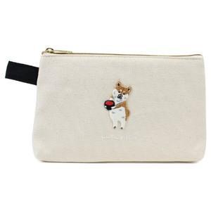 ポケファス×プラスト Pokefasu 刺繍 フラットケース/ワンモア 犬 ポーチ 小物入れ 4423-086(取寄せ/代引不可/ギフト不可)|ajewelry