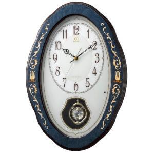 リズム時計 イタリア製象嵌細工 電波掛時計 振子時計/RHG-M90 紺象嵌仕上げ メロディ付き 木枠 4MN461HG11(取寄せ/代引不可)|ajewelry
