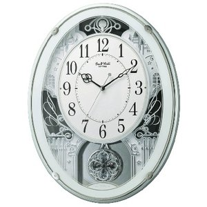 RHYTHM(リズム時計) 電波掛時計/スモールワールドプラウド 振り子時計 アミュージング時計 メロディ付き 緑メタリック 4MN523RH05(取寄せ/代引不可)|ajewelry