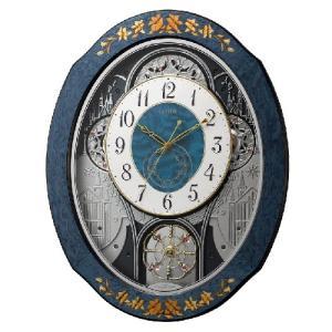 リズム時計 日本製象嵌細工 電波掛時計 からくり時計 振子時計/プライムウィーブ 青象嵌仕上げ メロディ付き 木枠 4MN527RH04(取寄せ/代引不可)|ajewelry