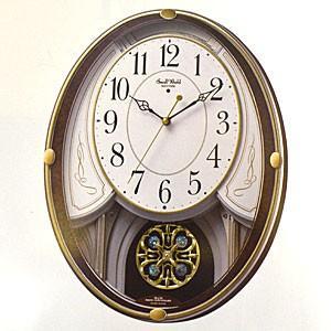 リズム時計 電波掛時計/スモールワールドセリーナS 振り子時計 メロディ付 木目調 4MN549RH23(取寄せ/代引不可)|ajewelry