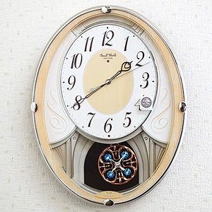 リズム時計 電波掛時計/スモールワールドセリーナN 振り子時計 メロディ付 木目調 4MN550RH23(取寄せ/代引不可)|ajewelry