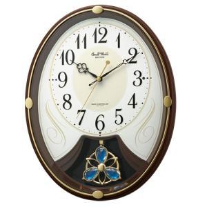 リズム時計 電波掛時計 振子時計/スモールワールドリリィN メロディ6曲/茶色 4MN554RH06 (取)|ajewelry